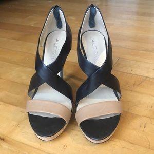 ALDO Black and Tan heels